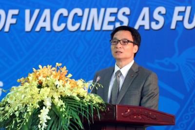 Phó Thủ tướng Vũ Đức Đam phát biểu tại Lễ công nhận Hệ thống quản lý quốc gia về vaccine của Việt Nam đạt chuẩn quốc tế theo đánh giá và công nhận của Tổ chức Y tế thế giới (WHO). Ảnh: VGP/Đình Nam