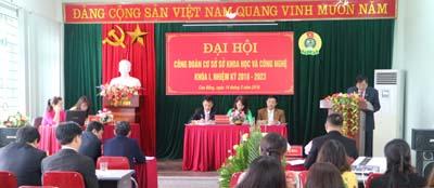 Đồng chí Hoàng Giang, Bí thư Đảng ủy, Giám đốc Sở KH&CN phát biểu tại Đại hội.