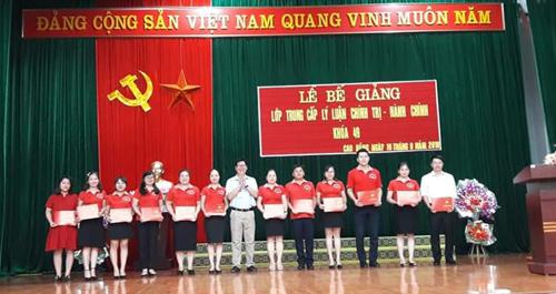 Đ/c Tô Vũ Ninh - Phó Hiệu trưởng nhà trường trao Bằng tốt nghiệp cho các học viên tiêu biểu.