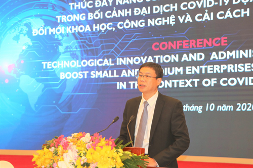 Thứ trưởng Bộ KH&CN phát biểu tại Hội nghị. Ảnh: Hán Hiển